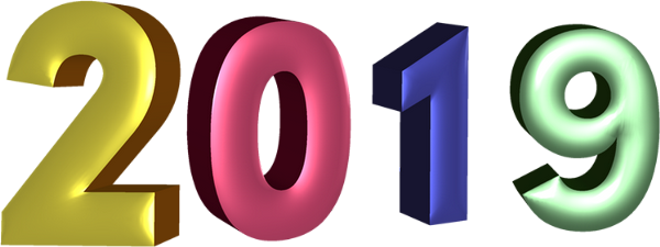 2019, tube png Nouvelle Année . New Year 2019, 3D