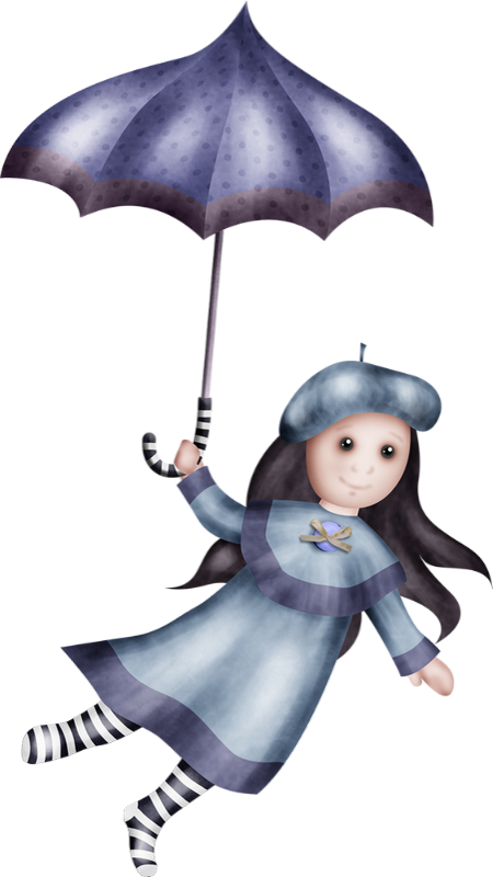 Tube Personnage Dessin Fille Png Parapluie Girl Clipart