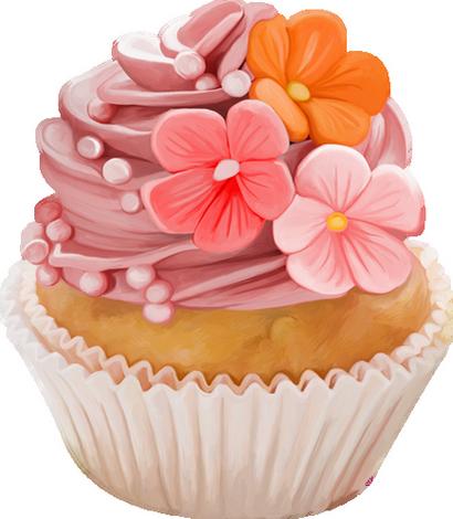 Cupcake Fleurs Dessin Couleur Png Pastel Cupcake Png