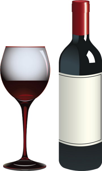 Vin rouge : bouteille et verre Red wine : clipart png