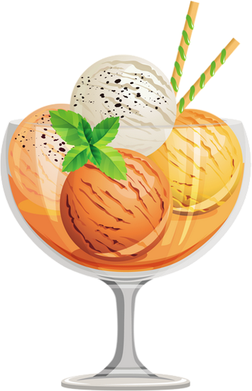 Dessin : coupe de crème glacée à l'abricot - Ice cream