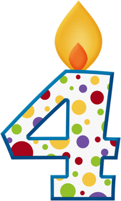 PNG transparent : birthday candle number 4, drawing - candela di ...