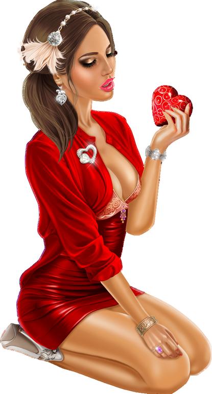 Femme png St valentin, tube, coeur  - Frau Valentinstag