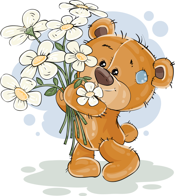 Tube Anniversaire Ours Png Fleurs Birthday Clipart Bear