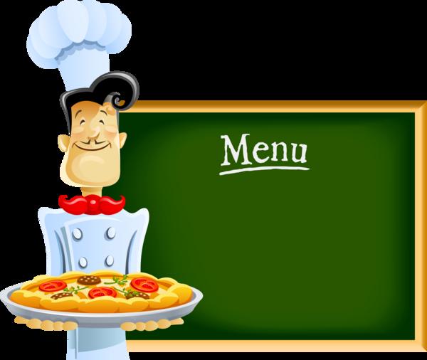 Chef pizzaïolo, pancarte, menu - Chef with blackboard