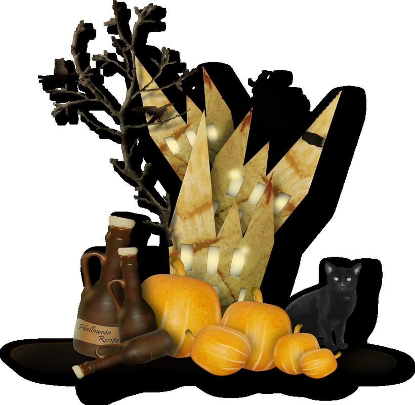 tube halloween cluster png citrouilles chat noir. Black Bedroom Furniture Sets. Home Design Ideas