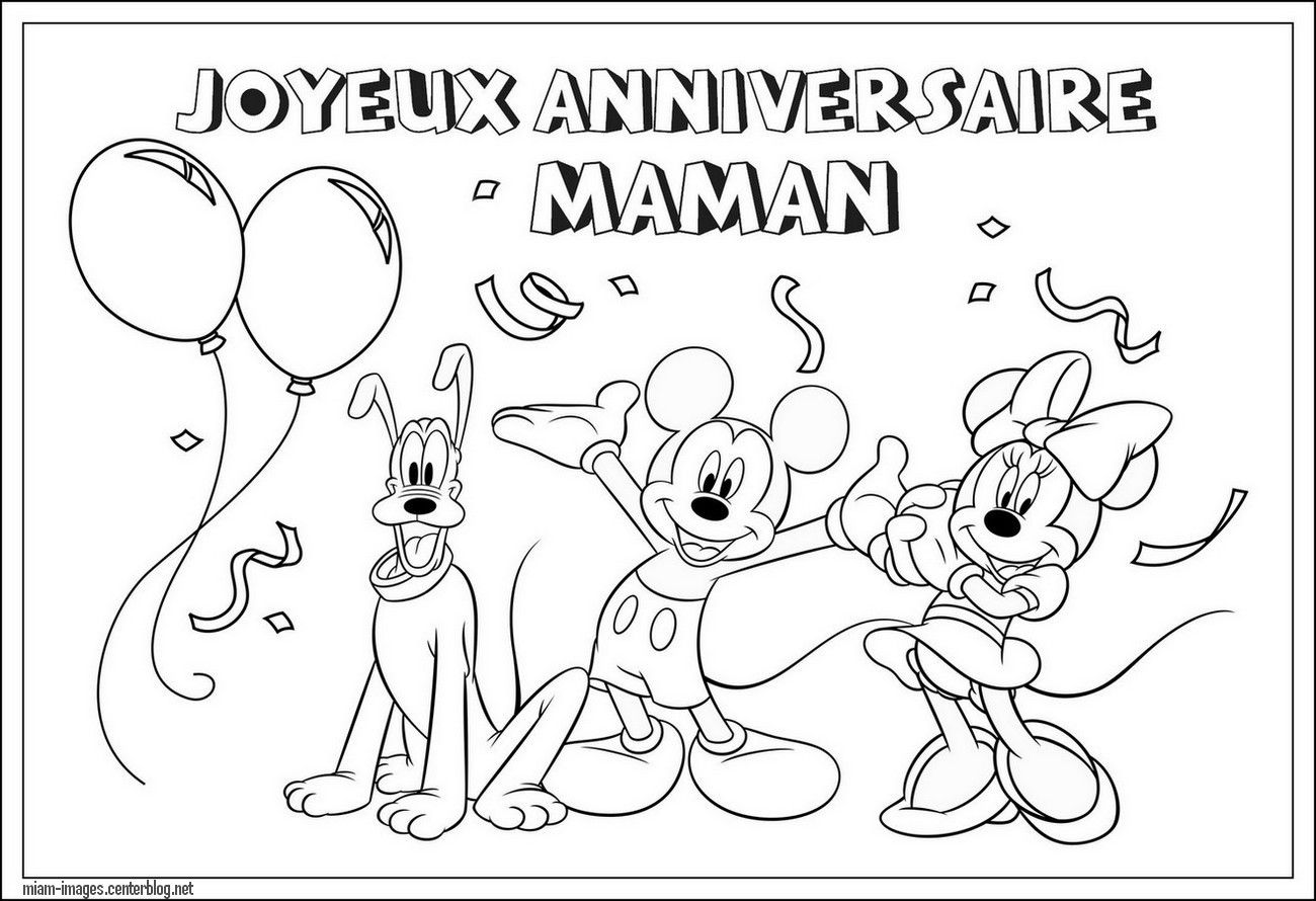 Coloriage anniversaire Maman, Mickey - Coloring page