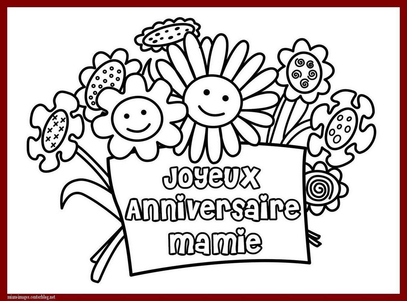 Anniversaire coloriage joyeux anniversaire mamie - Dessin a imprimer anniversaire ...