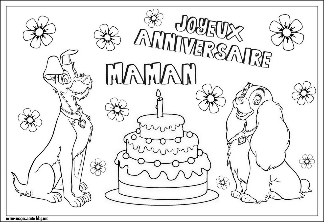 Coloriage Anniversaire Maman Disney Belle Clochard