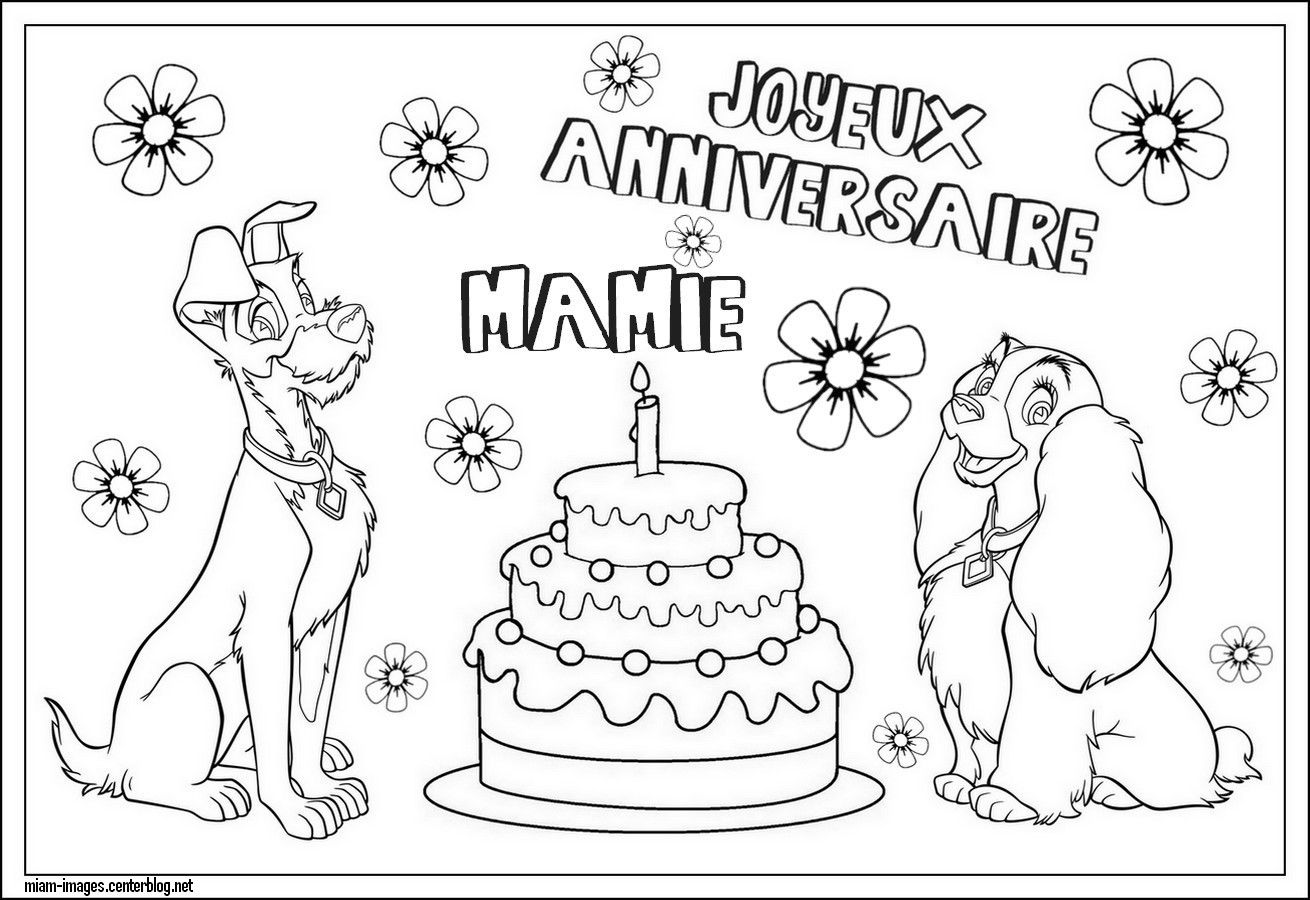 Coloriage Anniversaire Mamie Disney Belle Clochard