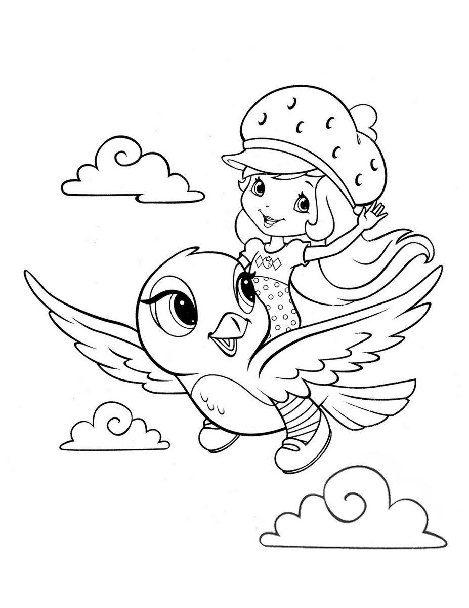 Coloriage Charlotte Aux Fraises Sur Un Oiseau