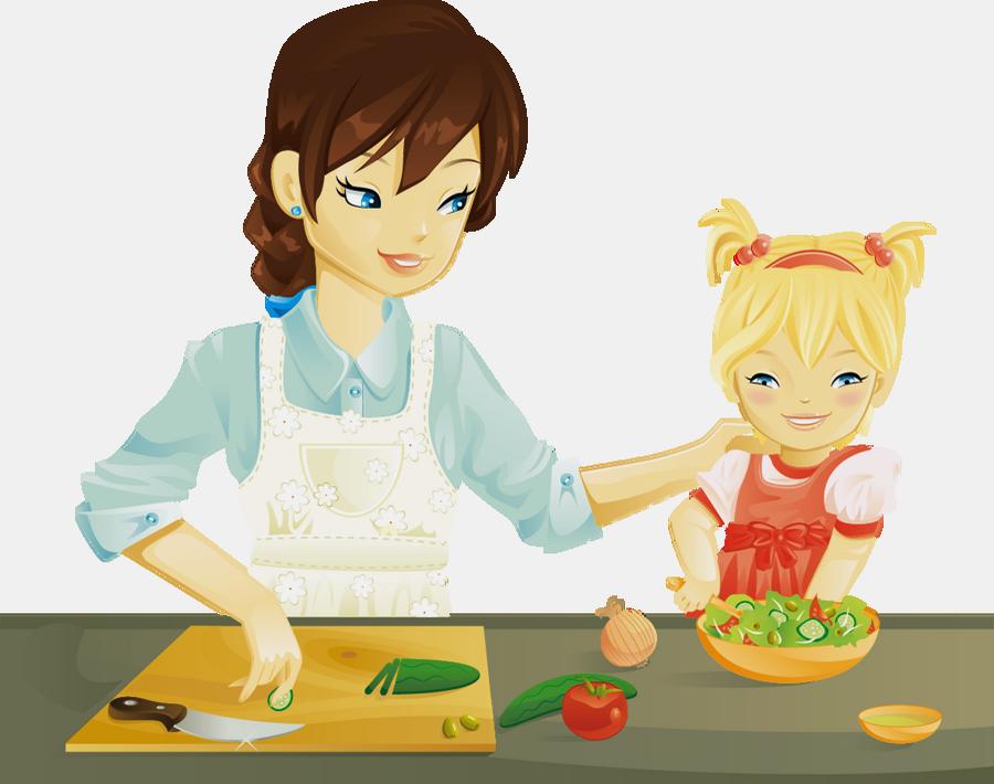 Maman Et Sa Fille Dans La Cuisine Dessin Png Transparent