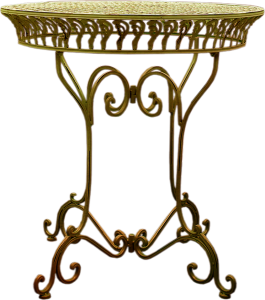 Petite table en fer forg kakie - Petite table en fer forge ...